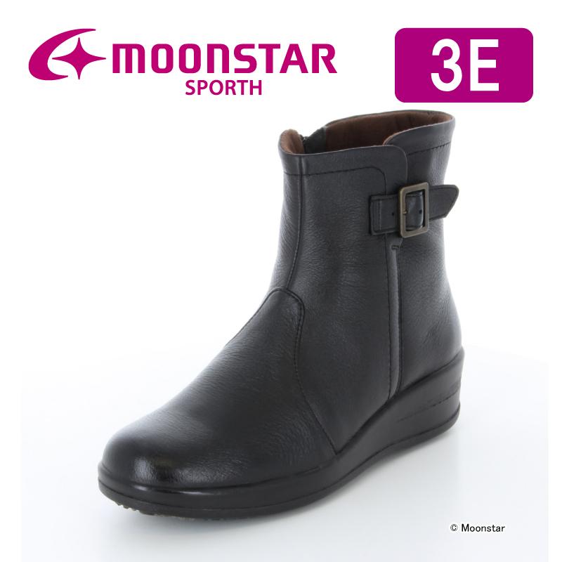 ムーンスター スポルス 【送料無料】 レディース コンフォート ブーツ SP7766WSR ブラック moonstar 3E 防滑底 撥水加工