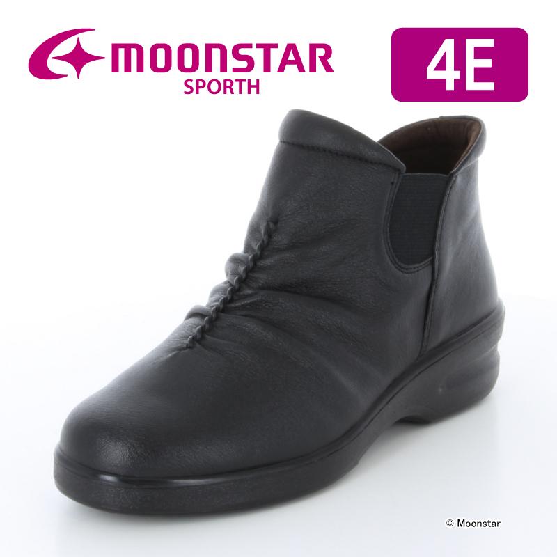 ムーンスター スポルス レディース コンフォート ブーツ SP2160WSR ブラック moonstar 幅広 4E 防滑底 撥水加工 おしゃれ
