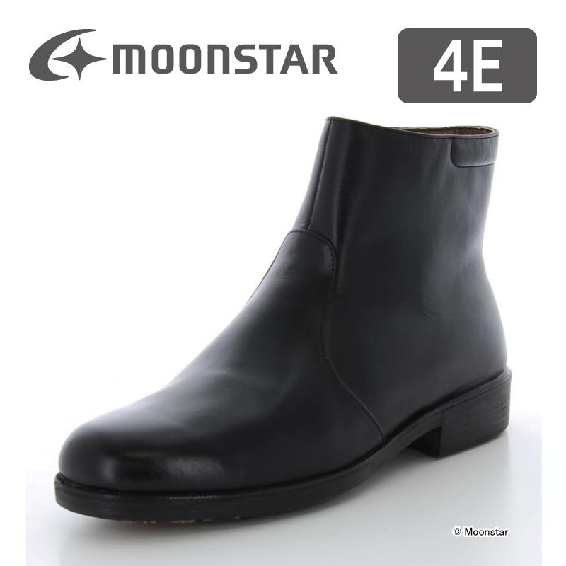 ムーンスター メンズ ビジネス ブーツ MB4981TSR ブラック moonstar 幅広 4E 防滑底 撥水加工 ファスナー付
