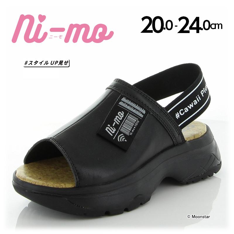 トレンドを取り入れ 女の子の可愛くなりたい をサポート ムーンスター ニーモ 大人気 セール 子供靴 ジュニア セール価格 J034 NM ni-mo 女の子 サンダル ブラック 黒 moonstar