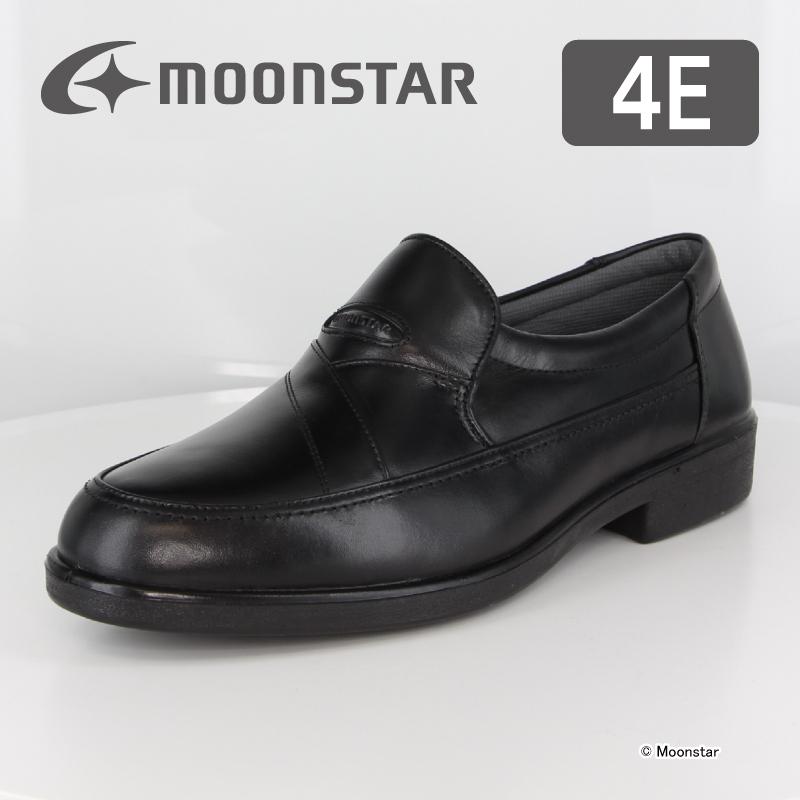 【10%OFFクーポン配布中!】 ムーンスター メンズ ビジネス シューズ SP3441A ブラック moonstar 幅広 4E 撥水加工 国産