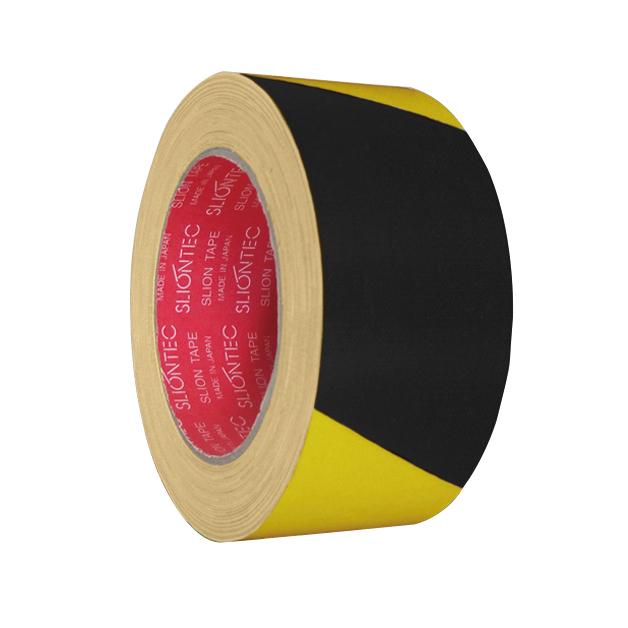 スリオンテック 布粘着テープ 縞 No.3362SS 60mm巾×25m 24巻 黄色と黒の縞模様 安全喚起に最適なトラ柄布テープ