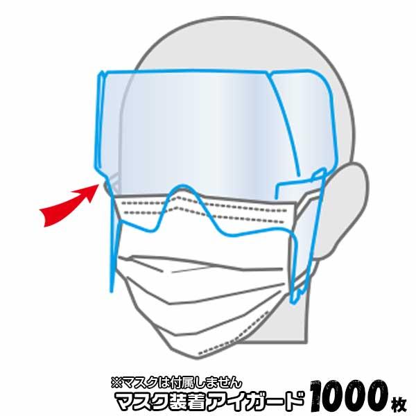大阪シーリング印刷 マスク装着アイガード (フェイスシールド) 1000枚(50枚×20セット)マスク装着タイプ 眼鏡脱着可能 軽量ガード