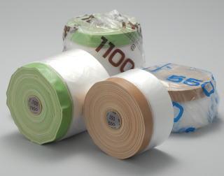 リシン用 布ガム 特厚ポリ マスカー 茶 550mm×25m 60巻 テープ 塗装 養生 壁面