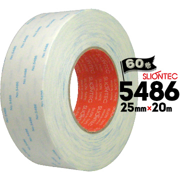 マクセル スリオンテック 紙両面テープ No.5486強粘着タイプ/銘板固定/家電用/建材用25mm×20m60巻広い温度範囲で使用可能な強粘着両面テープ工業用途 ポリプロピレン用 ポリエチレン用 オレフィン用