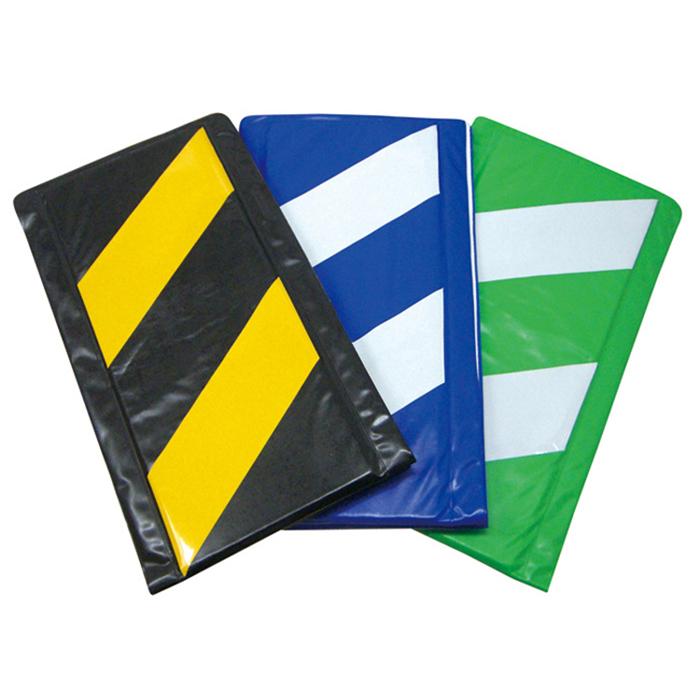 角養生 クッション素材の安全標示 コーナークッション トラ柄(10枚/セット)青白/黄黒/緑白 両面テープ付き【送料無料】