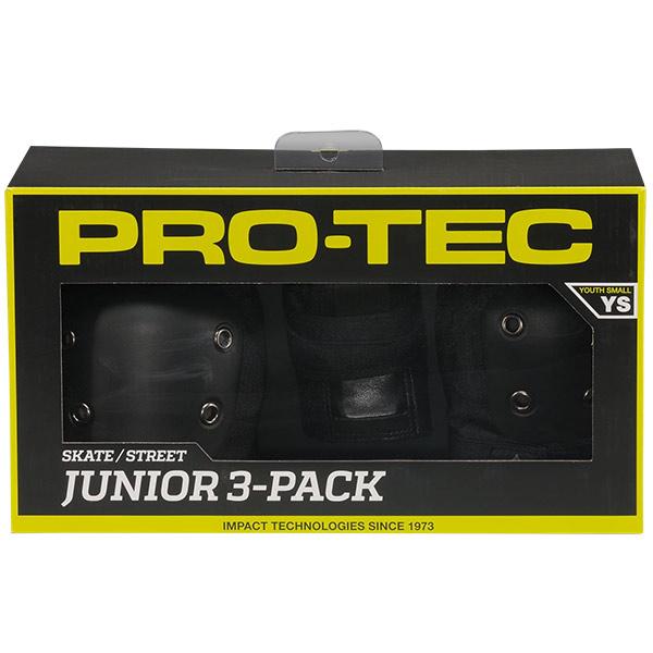"""PRO-TECプロテック""""STREETGEARJRPAD3pack(Black)""""キッズプロテクター肘膝手首スケートボード"""