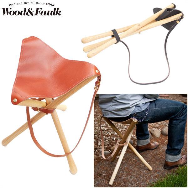 Wood & Faulk ウッドアンドフォーク 手作り レザーブランド wood&faulk 正規販売店 折りたたみ椅子 Camps Stool キャンプスツール アウトドア 本革 4色バリ