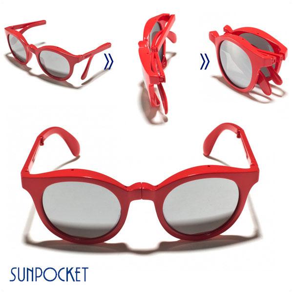 レディース 丸型 メンズ【お買い物マラソン限定 SUNPOCKET レッド 折りたたみサングラス サンポケット 赤 RED つやあり ポイントアップ SHINY ミラーレンズ 20倍】 サングラス EyeWear SAMOA