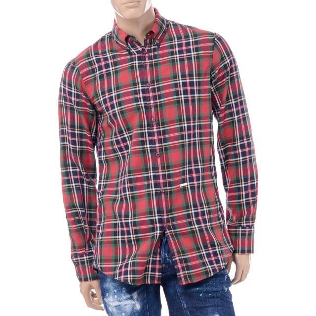 ディースクエアード (Dsquared2) チェックシャツ コットン レッドs74dm0072s47840001 2017AW メンズ秋冬 送料無料 正規取扱