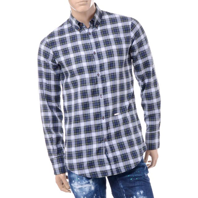 ディースクエアード (Dsquared2) チェックシャツ コットン グリーンs74dm0072s47868001 2017AW メンズ秋冬 送料無料 正規取扱