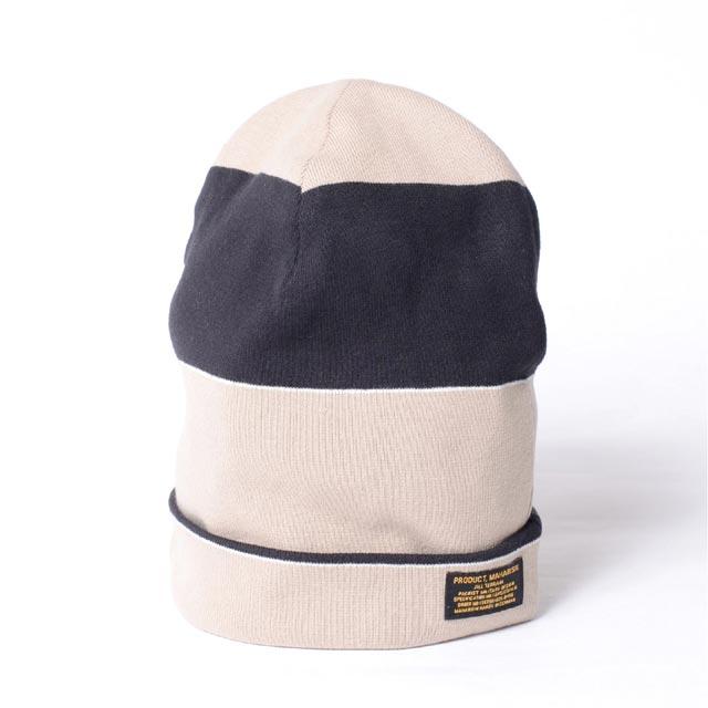 マハリシ (maharishi ) ボーダーニット帽 ビーニィ ホワイトブラック8645blacktan 2017AW メンズ秋冬 送料無料 正規取扱