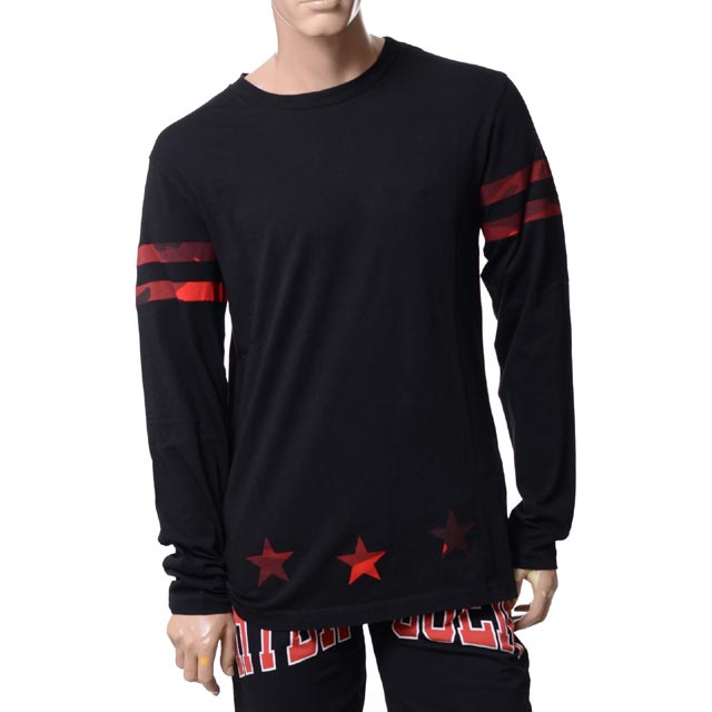 ハイドロゲン (Hydrogen) ロングTシャツ ブラックレッド21065041001151 2018SS メンズ春夏 10,800円以上購入で送料無料 正規取扱