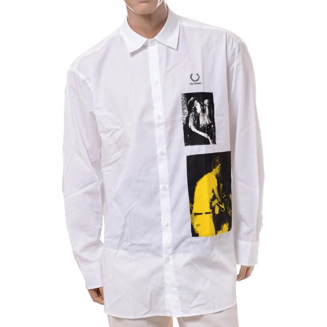 ラフシモンズ (RAF SIMONS) フレッドペリー オーバーサイズシャツ コットン ホワイトsm9048100 2020AW メンズ秋冬新作 送料無料 正規取扱