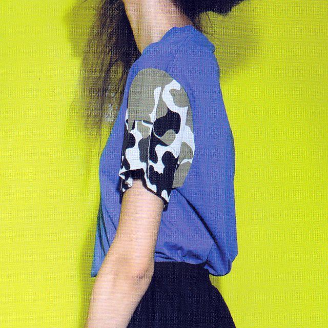 ゴールデングース (Golden Goose) 袖プリントカットソー コットンジャージー ブルー g26d024b1 2015SS レディース春夏 10,800円以上購入で送料無料 【正規取扱】