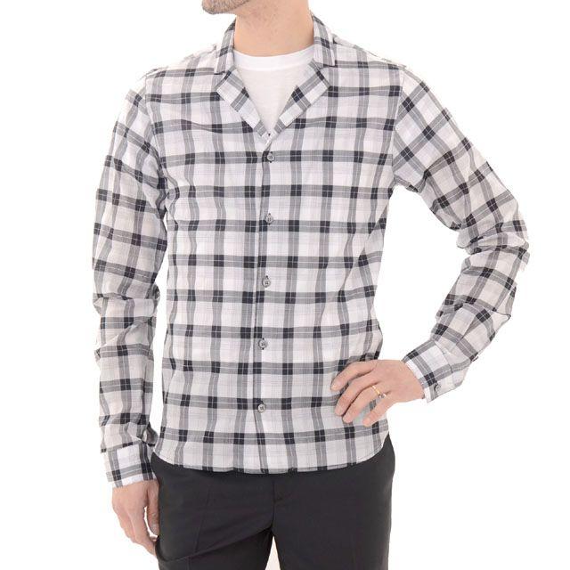 クリスヴァンアッシュ (kris van assche) ナローラペルチェックシャツ ホワイト sh150kv22700 チェック柄, 送料無料 【正規取扱】