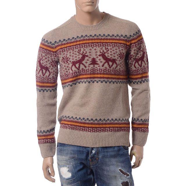 レコパン (Les Copains ) セーター マルチ柄 ベージュ r215603226 メンズ秋冬 送料無料 【正規取扱】