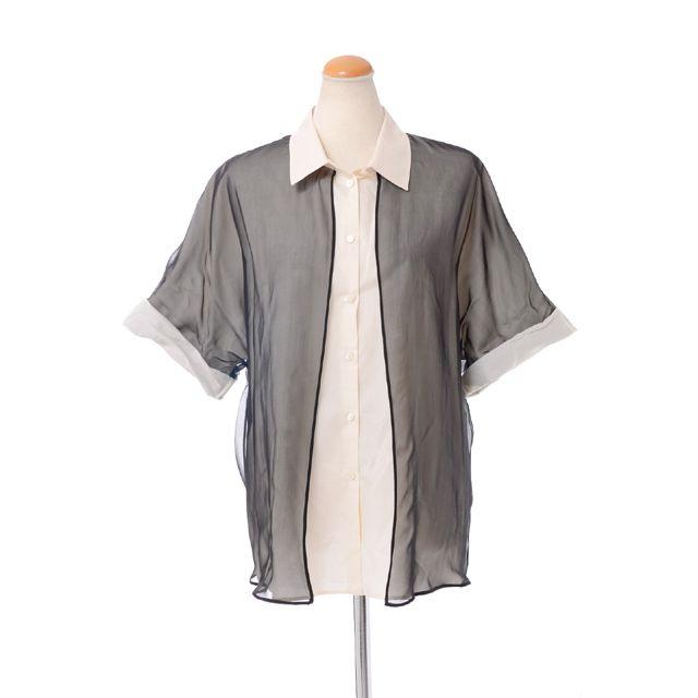 ヴェロニクブランキーノ (Veronique Branquinho) 五分袖レイヤードシャツ シルク ブラック a302ava401045 レイヤードブラウス,シルクブラウス,シャツ襟ブラウス 送料無料 【正規取扱】