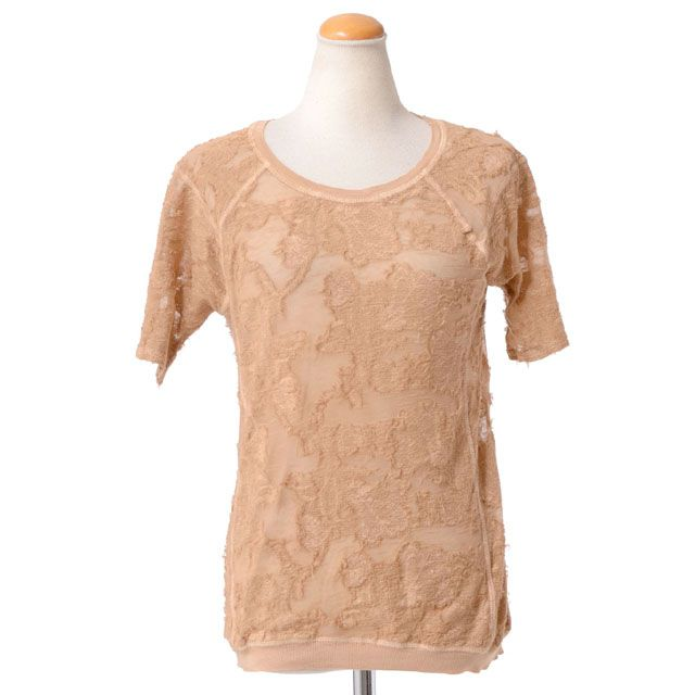 ロベルトコリーナ (Roberto Collina) 透かしフラワーカットソー ベージュ c5600103n フラワープリントカットソー,Tシャツ,重ね着Tシャツ,カットソー 送料無料 【正規取扱】
