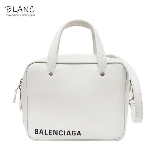バレンシアガ トライアングル スクエアXS レザー ホワイト ハンドバッグ 2WAYショルダー 513995 横浜BLANC:横浜BLANC店