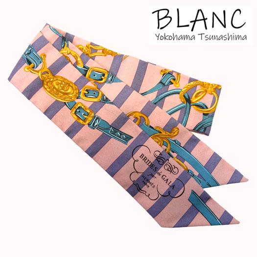 送料無料 ふるさと割 極美品 中古 エルメス ツイリー BRIDES de GALA 式典用馬勒 スカーフ 横浜BLANC 40%OFFの激安セール マルチカラー HERMES シルク ピンク系