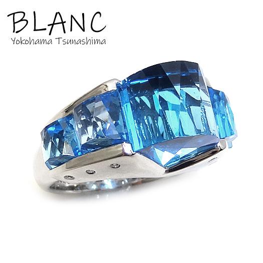 【中古】ブルートパーズ ダイヤ リング 指輪 K18 ホワイトゴールド ブルートパーズ 13.46ct ダイヤ 0.10ct ジュエリー NB 横浜BLANC