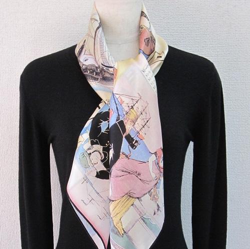 横浜手捺染シルクスカーフ 匠の技 横濱物語スカーフ 日本製