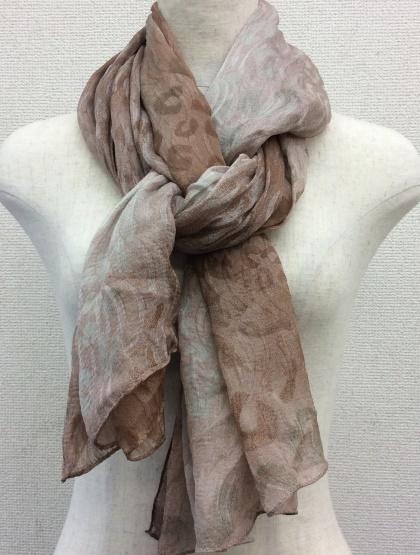 日本製シルク100%スカーフ職人技が光る逸品 横浜でプリントされたレディーススカーフ アニマル太陽柄 ブラウン