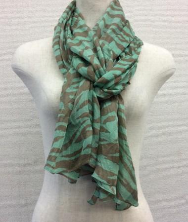 日本製シルク100%スカーフ職人技が光る逸品 横浜でプリントされたレディーススカーフ ゼブラ柄 ブルー/ブラウン