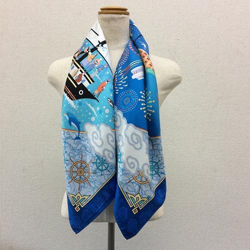 横浜の職人が染めた逸品横濱開港をデザインしたシルク100%のスカーフ開港柄ブルー