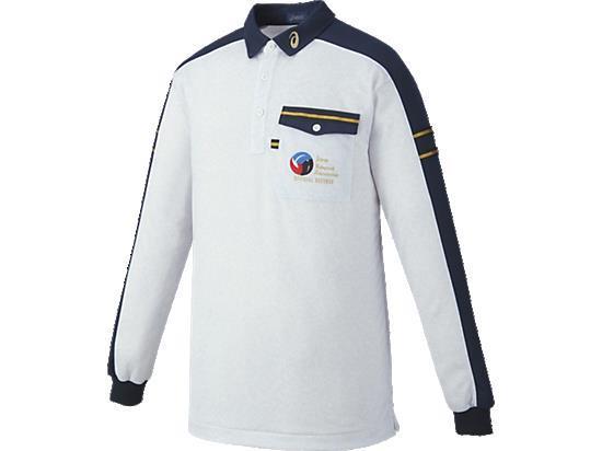 アシックス レフリーシャツLS 9750 ホワイト杢×ネイビー(xw6315-9750)