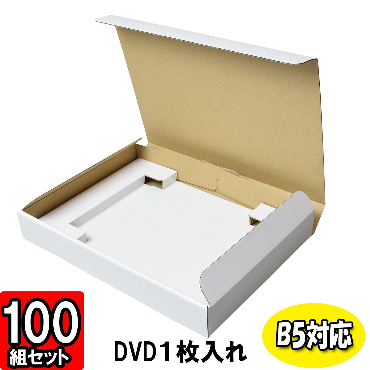 【あす楽】DVD入れ箱【仕切付き】【B5対応】【1枚入用】 100枚セット 【ダンボール箱 段ボール箱 DVD発送 梱包材 梱包資材】
