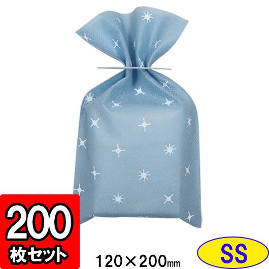 【メーカー直送品につき代引不可】不織布 柄入平袋 SS 【ブルー】 200枚セット【ラッピング 巾着 ラッピング用品 袋 包装袋 巾着袋 店舗用品】
