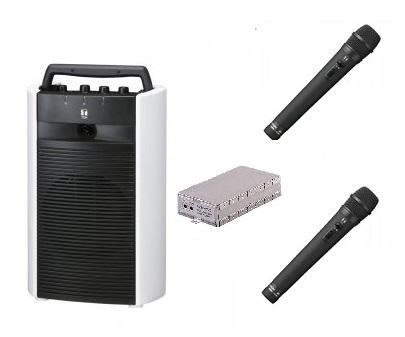 TOA ポータブルワイヤレスアンプ+マイク(2本)のセット「WA-2700×1+WM-1220×2+WTU-1720×1」 WA-2700-B