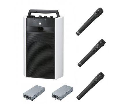 800MHz帯ワイヤレスアンプ(CD付)とワイヤレスマイク(ハンド型3本)セット。 TOA ダイバシティワイヤレスアンプ(CD付)+マイク3本セット「WA-2800CD+WM-1220×3+WTU-1820×2」 WA-2800CD-C