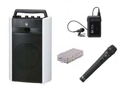 TOA 800MHz帯 ワイヤレスアンプ(CD、SD、USB付)+マイク2個(ハンド型/タイピン型)のセット商品「WA-2700SC+WM-1220+WM-1320+WTU-1720」 WA-2700SC-C