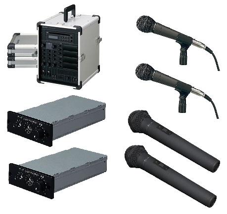ボーカル形ワイヤレスマイクロホンセット。 ユニペックス ポータブルアンプボーカルセット(アルミケース付)CGA-200DA-D-B