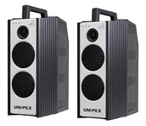 ユニペックス 防滴形ハイパワーワイヤレスアンプ+CD・SD付防滴形ハイパワーワイヤレスアンプ+防滴形ワイヤレスマイク(4本)+ワイヤレスチューナーユニット(2台)+ラインコード(WA-872+WA-872SU+WM-8400×4+DU-850A×2+LM-610)WA-872-CSET