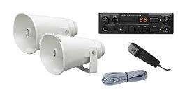ユニペックス 12V仕様SDHC対応 車載システムセット(ミドルクラス)(12V用40W SDレコーダー付車載アンプ(マイク付)+25Wスピーカー2個+スピーカー接続コード)(NDS-402A+CV-381/25A×2+LS-404)NDS-402A-A