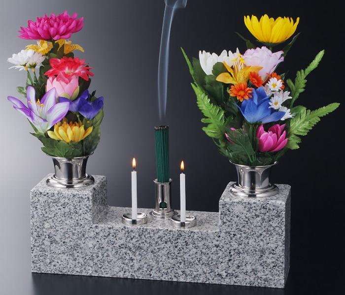 ナカムラ 墓前石台ステンレス製花立・ローソク立・線香立 かがやきお墓参り ご供養 蝋燭 お盆 お彼岸 送料無料