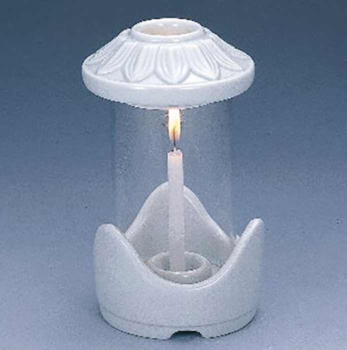 5%OFF 風が吹いてもローソクの炎が消えにくい ナカムラ ローソク立て 陶器台 白雪 通販 ホヤはガラス お彼岸 お盆