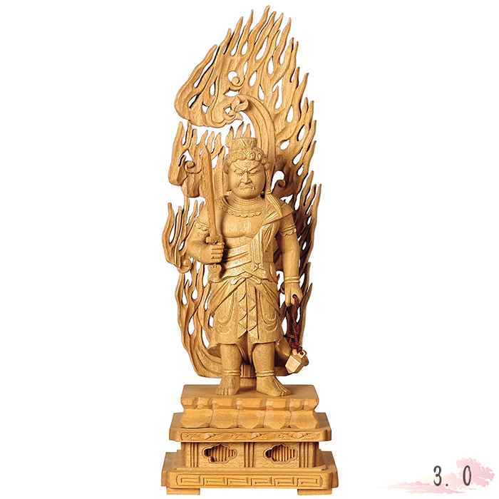 北海道への配達不可商品です 仏像 楠木地彫 不動明王 金泥書 3.0寸 仏具 仏教 本尊 仏壇 image Buddhist Butsuzo statue of Buddha a 限定品 今だけスーパーセール限定