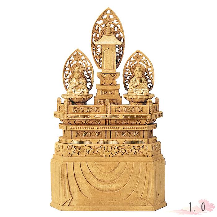 仏像 楠木 地彫 三宝尊 金泥書 1.0寸 仏具 仏教 本尊 仏壇 Butsuzo a Buddhist image a statue of Buddha