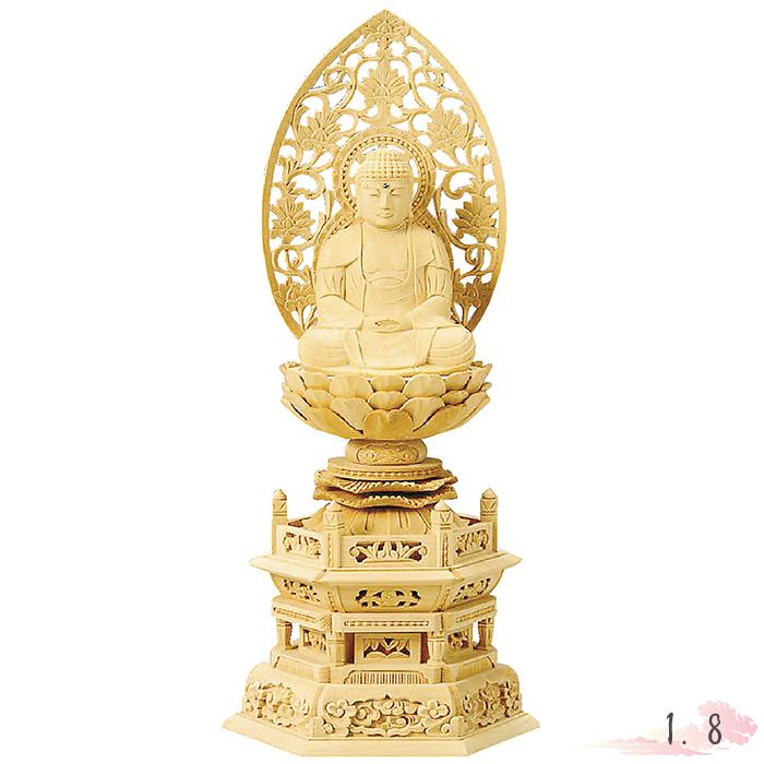 仏像 総白木 六角台座 座釈迦 1.8寸 仏具 仏教 本尊 仏壇 Butsuzo a Buddhist image a statue of Buddha