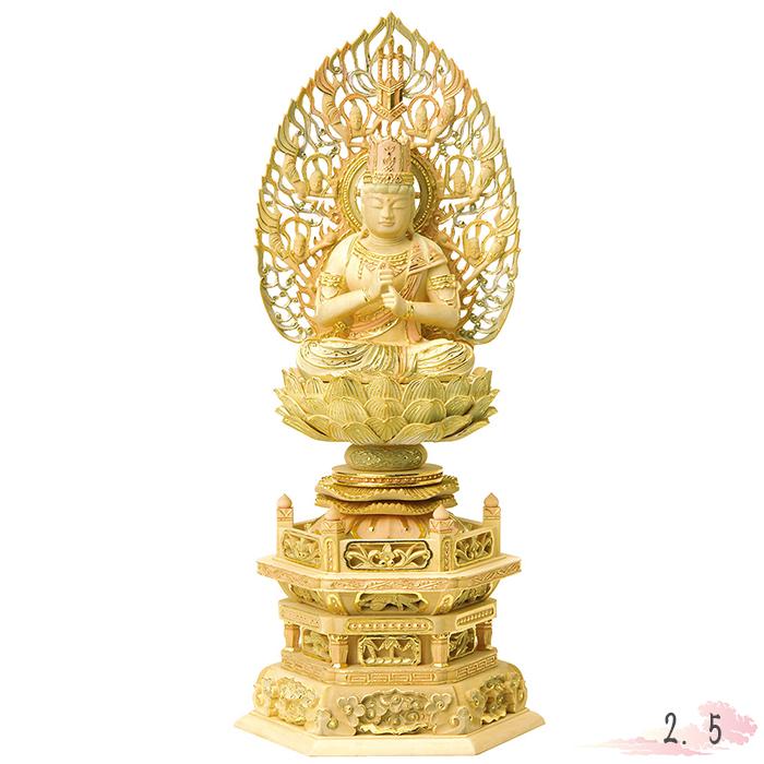 仏像 総柘植 切金淡彩 六角台座 大日如来 飛天光背 2.5寸 仏具 仏教 本尊 仏壇 Butsuzo a Buddhist image a statue of Buddha