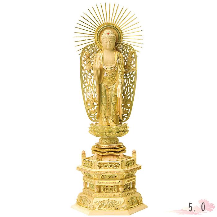 伝統の技法に現れる高い技術 仏像 総柘植 切金淡彩 六角台座 西立弥陀 飛天光背 5.0寸 仏具 仏教 本尊 仏壇 Butsuzo a Buddhist image a statue of Buddha