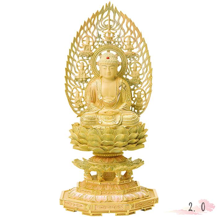 仏像 総柘植 切金淡彩 八角台座 座釈迦 飛天光背 2.0寸 仏具 仏教 本尊 仏壇 Butsuzo a Buddhist image a statue of Buddha