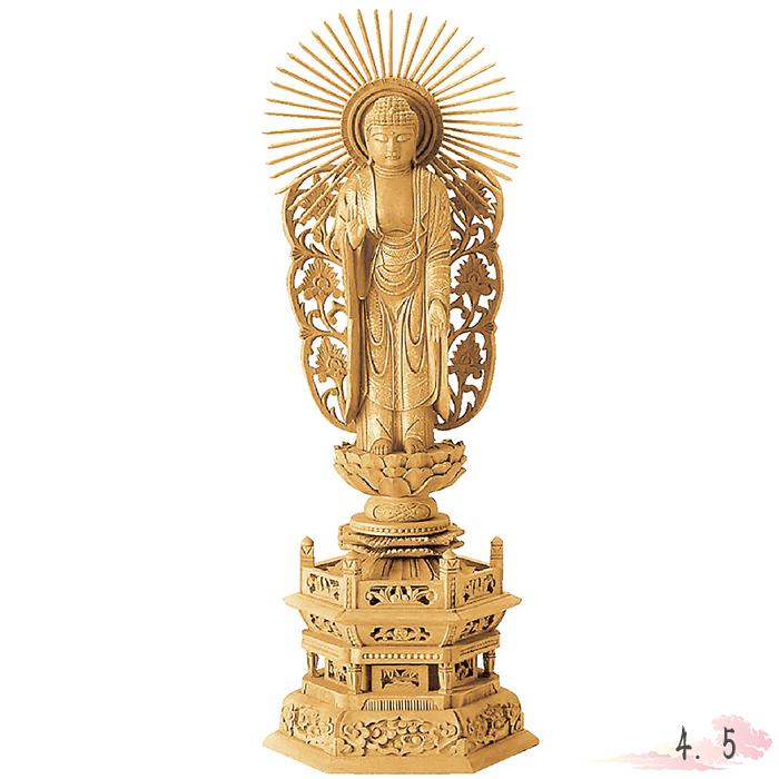 仏像 楠木 地彫 六角台座 西立弥陀 金泥書 4.5寸 仏具 仏教 本尊 仏壇 Butsuzo a Buddhist image a statue of Buddha