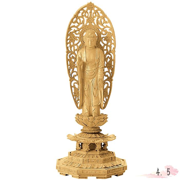 仏像 楠木 地彫 八角台座 舟立弥陀 金泥書 4.5寸 仏具 仏教 本尊 仏壇 Butsuzo a Buddhist image a statue of Buddha