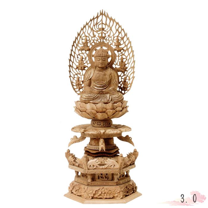 仏像 白檀 六角台座ケマン付 座弥陀 飛天光背 金泥書 3.0寸 仏具 仏教 本尊 仏壇 Butsuzo a Buddhist image a statue of Buddha